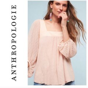 Meadow Rue Allyson Textured Stripe Blush Blouse